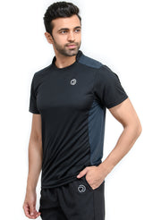 Men's Dry Fit Sports & Training Tshirt with Mandarin Collar - Black/Navy