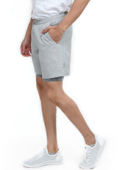 "7"" Sports Shorts with Phone Pocket - Special 2 layer Anthra Edition - Light Grey"