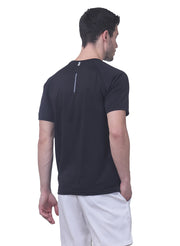 Men's Reflective dryfit tshirt with performaance mesh back - Black