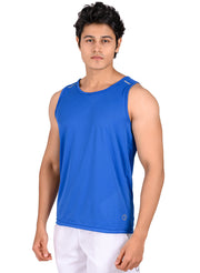 Men's Light Dryfit Tank with Reflective Details - Aqua Blue
