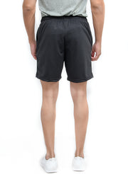 "Flexible Dry Fit Sports Shorts with 2 Zipper Pockets (8"" length) - Dark Grey"
