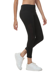 Women's Stretch Mesh 7/8th Legging with Waist Phone Pocket - Black