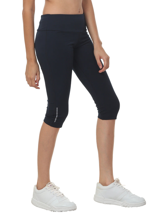 Women's Stretch Dryfit 3/4th Legging with Waist Phone Pocket - Navy