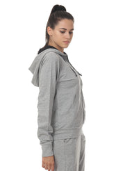 Training & Travel Hoodie Jacket with Zippered Chest Pocket for Women - Grey