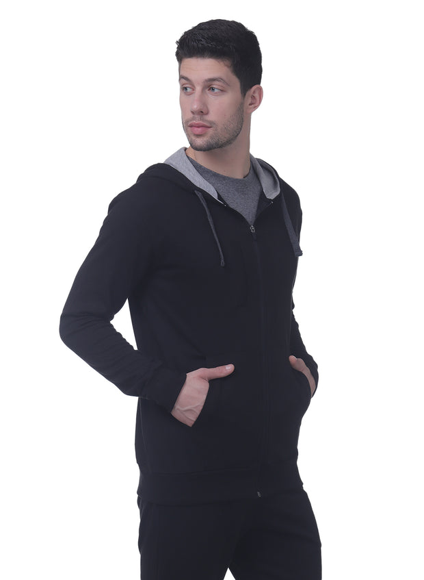 Training & Travel Hoodie Jacket with Zippered Chest Pocket for Men by TRUEREVO - Black