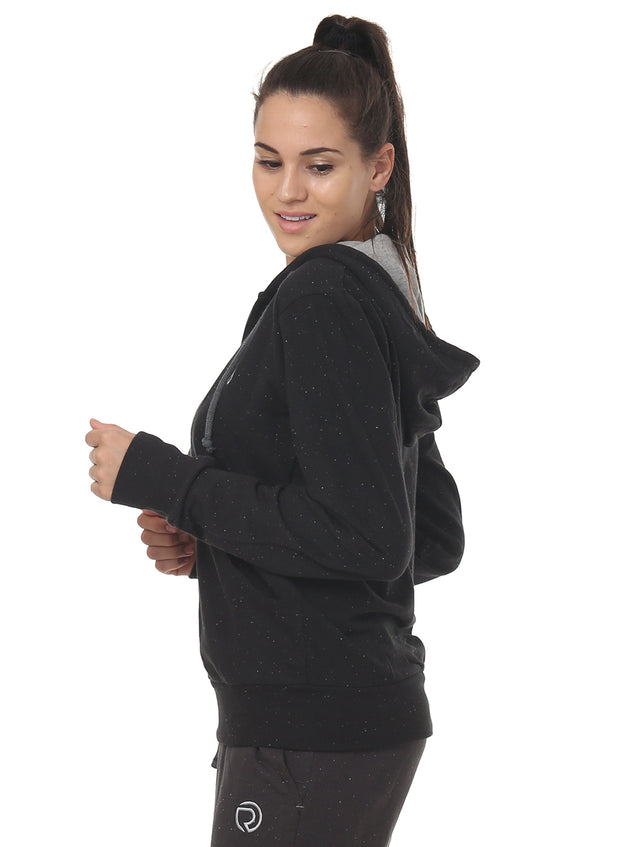 Training & Travel Hoodie Jacket with Zippered Chest Pocket for Women - Nappy Black