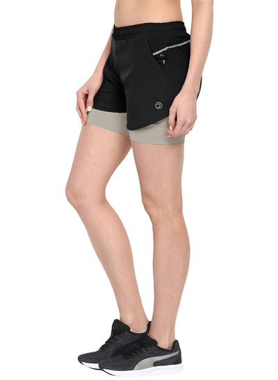 Sports Shorts With Phone Pocket - The SPS-II Grey Black