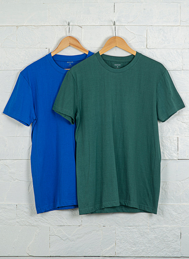 Men's Premium Cotton Tshirts  (Pack of 2- Green.Blue) - NITLON * TRUEREVO