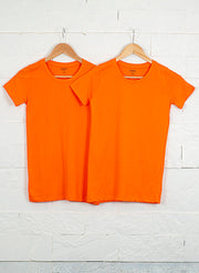 Women's Premium Cotton Tshirts (Pack of 2- Orange, Orange) - NITLON * TRUEREVO