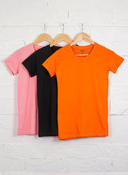 Women's Slim Fit Premium Cotton Tshirts (Pack of 3- Black, Orange, Pink) - NITLON * TRUEREVO