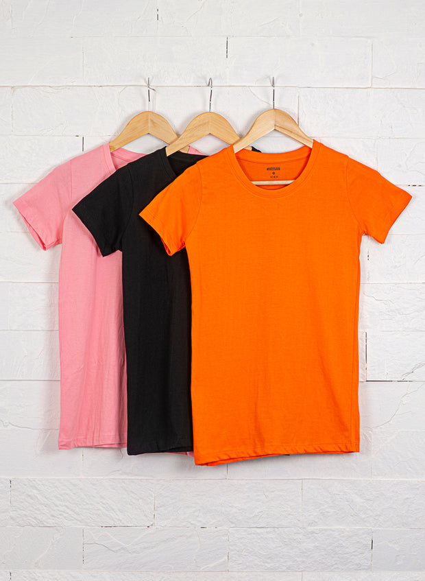 Women's Premium Cotton Tshirts (Pack of 3- Black, Orange, Pink) - NITLON * TRUEREVO