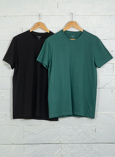 Men's Premium Cotton Tshirts  (Pack of 2- Black,Green) - NITLON * TRUEREVO