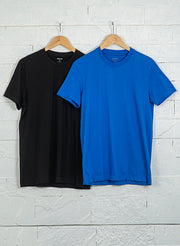 Men's Premium Cotton Tshirts  (Pack of 2- Black,Blue) - NITLON * TRUEREVO