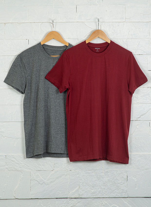 Men's Premium Cotton Tshirts  (Pack of 2- Grey,Maroon) - NITLON * TRUEREVO