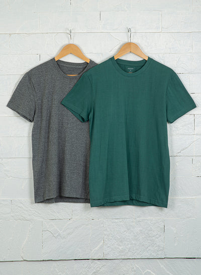 Men's Premium Cotton Tshirts  (Pack of 2- Grey,Green) - NITLON * TRUEREVO