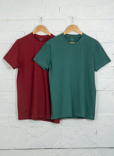 Men's Premium Cotton Tshirts (Pack of 2- Maroon,Green) - NITLON * TRUEREVO
