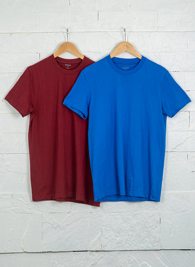Men's Premium Cotton Tshirts  (Pack of 2- Blue,Maroon) - NITLON * TRUEREVO