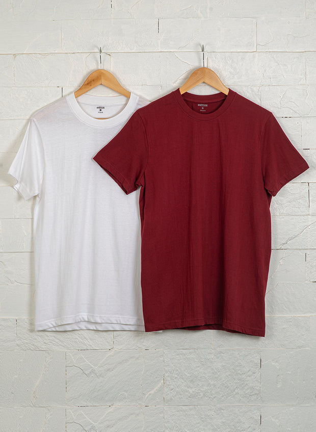 Men's Premium Cotton Tshirts  (Pack of 2- White,Maroon) - NITLON * TRUEREVO