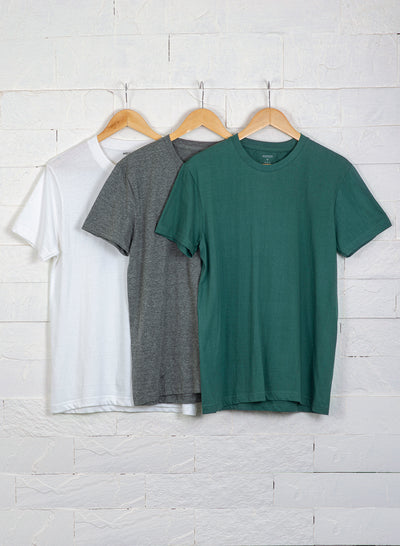 Men's Premium Cotton Tshirts (Pack of 3- Grey, Green, White) - NITLON * TRUEREVO