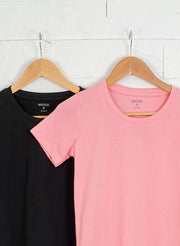 Women's Premium Cotton Tshirts (Pack of 2- Black, Pink) - NITLON * TRUEREVO