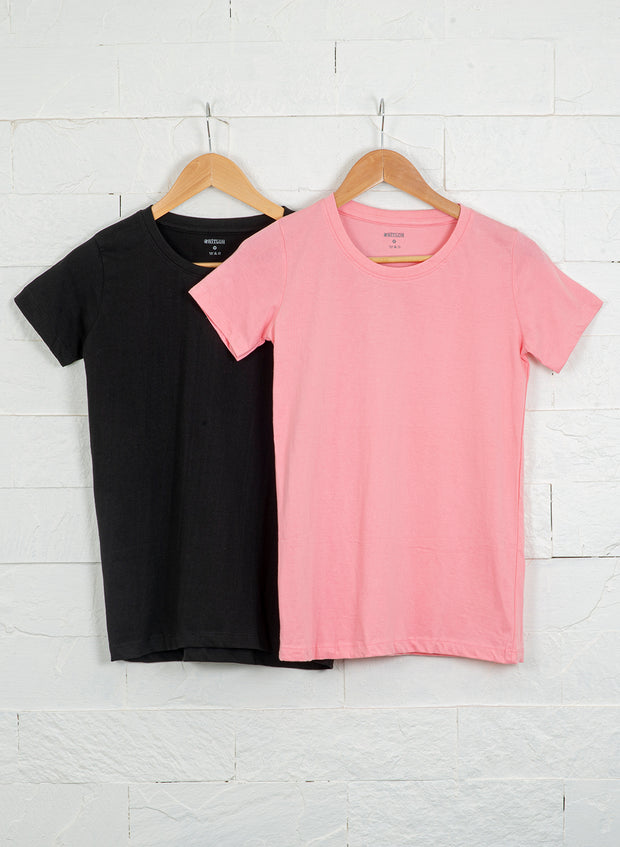 Women's Slim Fit Premium Cotton Tshirts (Pack of 2- Black, Pink) - NITLON * TRUEREVO