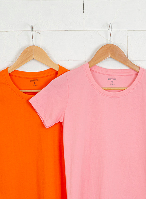 Women's Premium Cotton Tshirts (Pack of 2- Orange, Pink) - NITLON * TRUEREVO