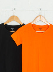 Women's Slim Fit Premium Cotton Tshirts (Pack of 2- Black, Orange) - NITLON * TRUEREVO
