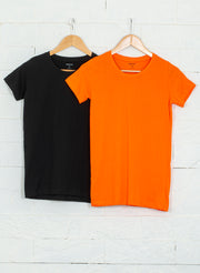 Women's Premium Cotton Tshirts (Pack of 2- Black, Orange) - NITLON * TRUEREVO