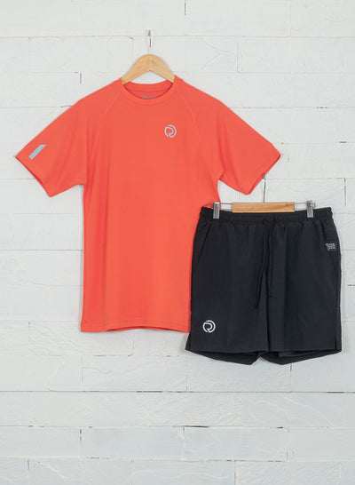 Shorts (with Phone pocket) & T-shirt Combo 2 Pack Men's Black - Red