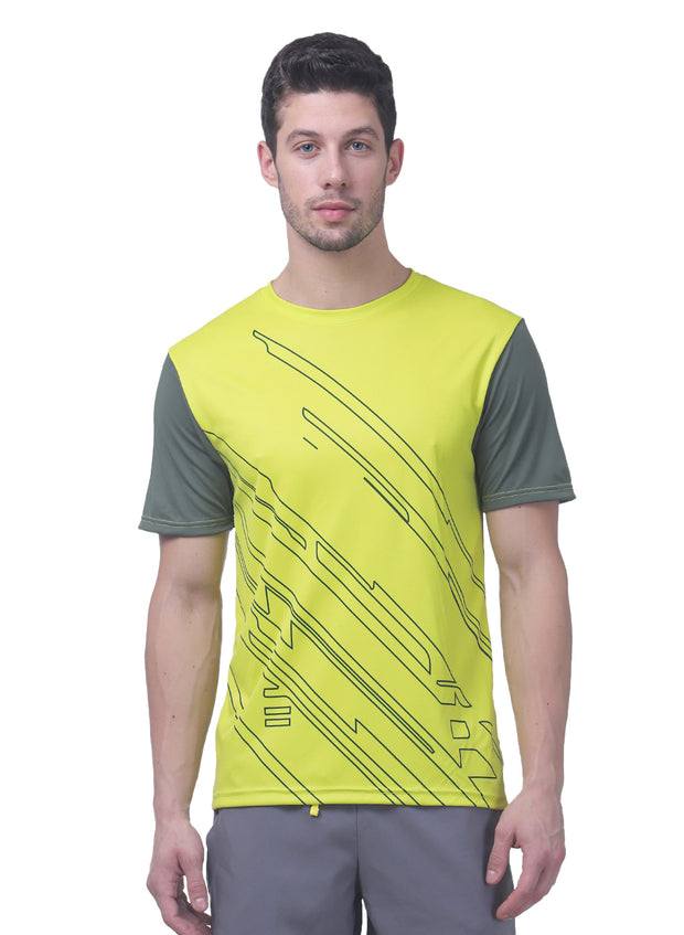 Men's Reflective dryfit tshirt with flow graphics - Chartreuse
