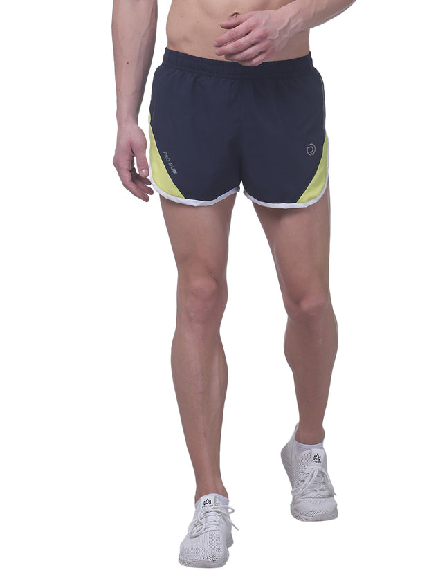 Professional Running Shorts with inner brief & key pocket - Navy yellow