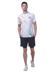 Men's Reflective dryfit tshirt with flow graphics - White