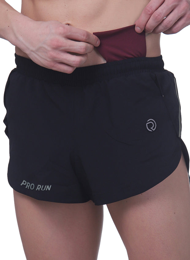 Professional Running Shorts with inner brief & key pocket - Black