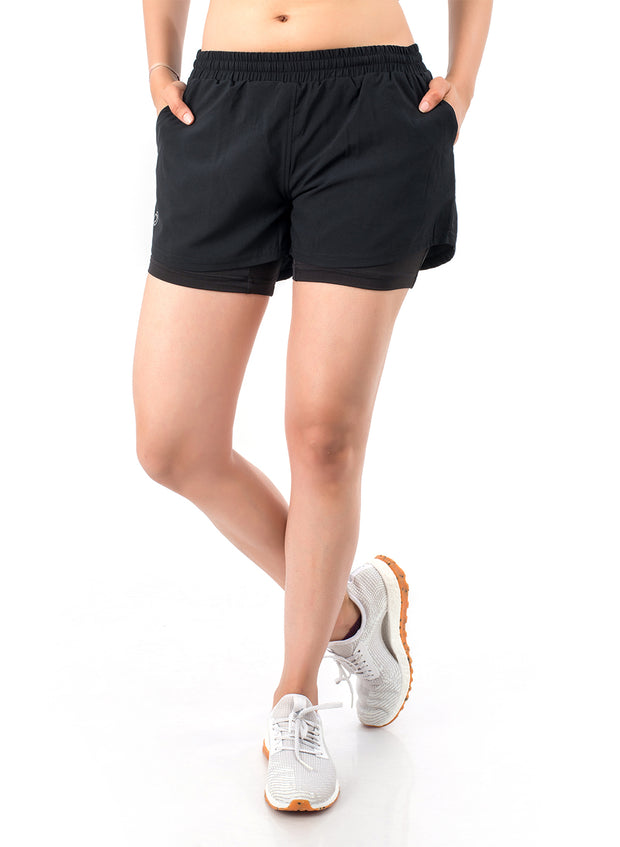 2-in-1 Sports Shorts With Phone Pocket - The SPS-II Double Black