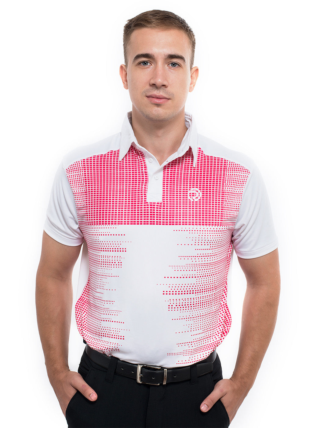Golf Poly-Printed Spandex High Fashion Collar T-shirt