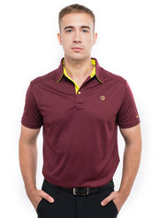 Sports Dryfit Collar Polo Tshirt with contrast placket for Men's Golf & Fitness - Maroon