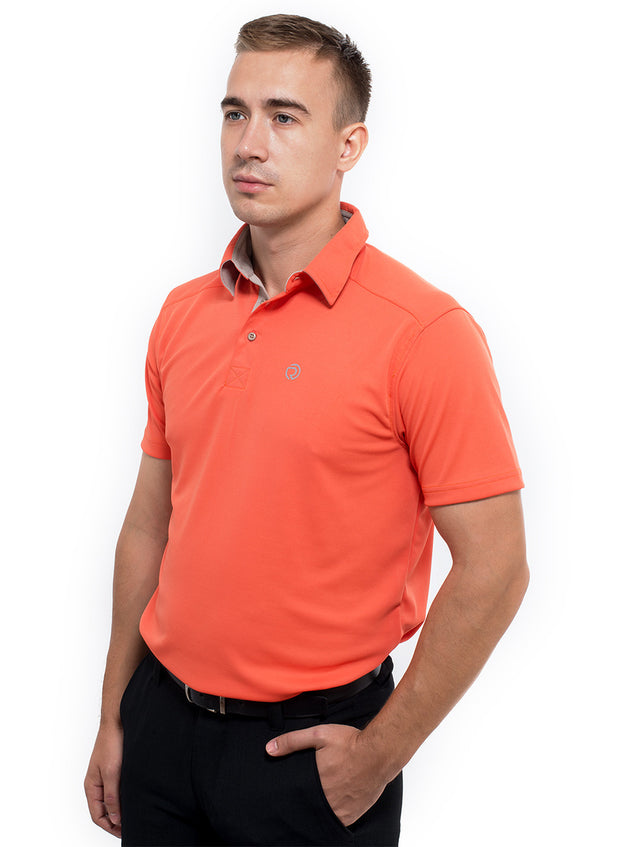 Sports Dryfit Collar Polo Tshirt with contrast placket for Men's Golf & Fitness - Red