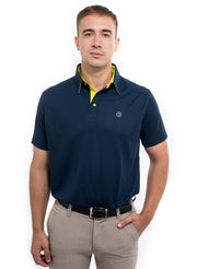 Sports Dryfit Collar Polo Tshirt with contrast placket for Men's Golf & Fitness - Navy