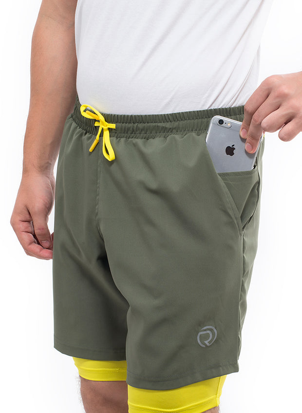 "7"" Sports Shorts With Phone Pocket - The SPS-II Military Green"