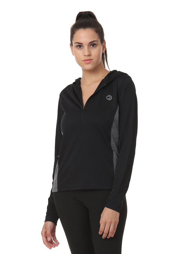 Hooded Full Sleeve Top  with Zipper Pocket for Women's Training & Sports - Dark Anthra