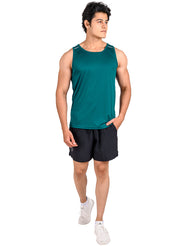 Men's Light Dryfit Tank with Reflective Details - Bottle Green