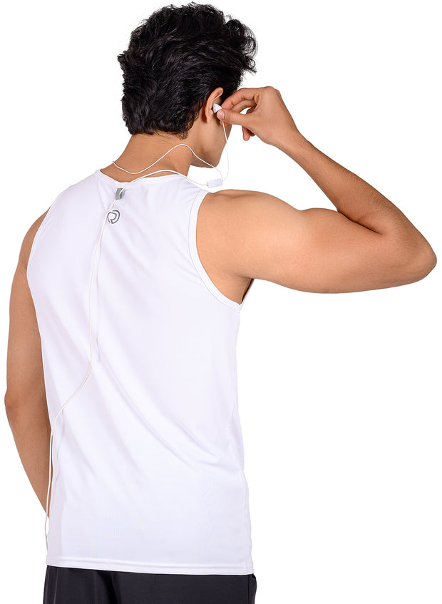 Men's Light Dryfit Tank with Reflective Details - White