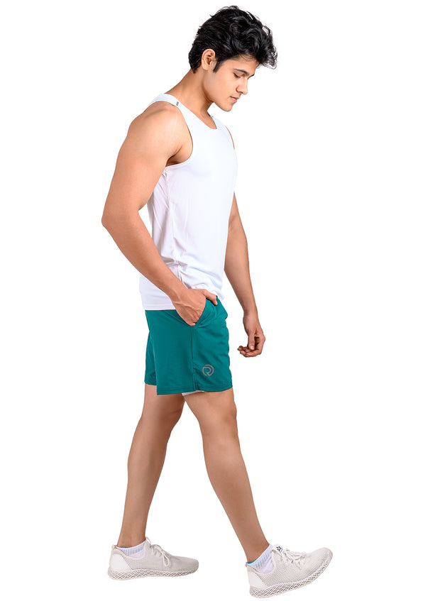 "7"" 2-in-1 Shorts With Phone Pocket - Men's Ocean Green"