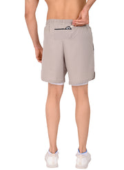 "7"" 2-in-1 Shorts With Phone Pocket - Men's Khakhi Brown"