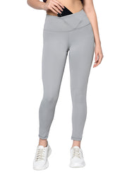 Women's Stretch Dryfit 7/8th Legging with Waist Phone Pocket & Zipper back pocket - Cult Grey
