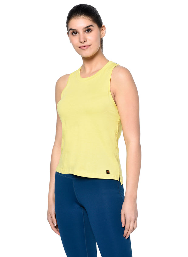 Gym & Training Tank Top Vest with Performance Mesh Back - Lemon Yellow