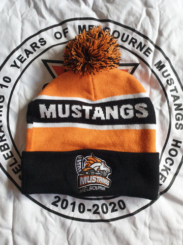 Melbourne Mustangs Orange and Black Supporter Beanie