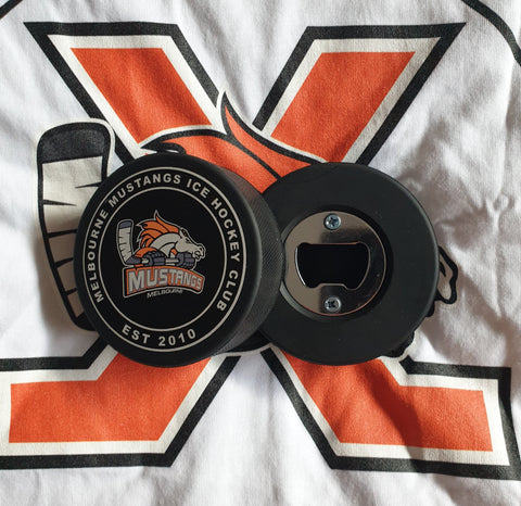 Melbourne Mustangs Puck Bottle Opener
