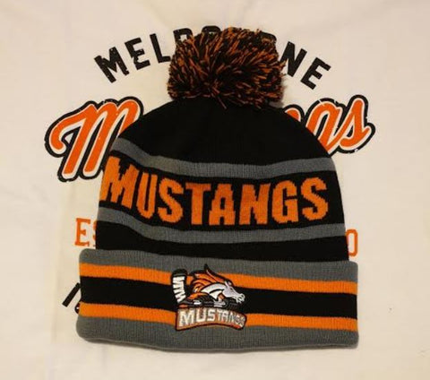 Melbourne Mustangs Black and Grey Premium Beanie