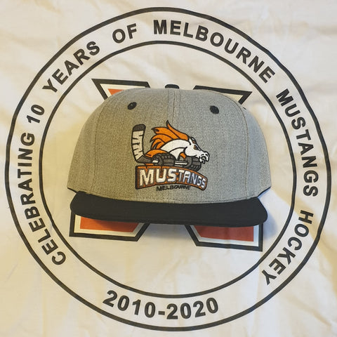 Melbourne Mustangs Premium Heather Grey Logo Flat Peak Cap